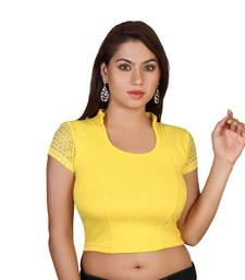 Yellow cotton plain stitched blouse