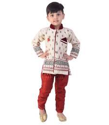 Buy maroon denim salwar embroidered kids  sherwani boys-sherwani online