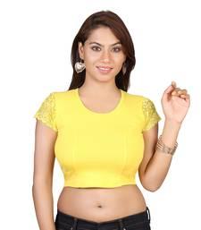 Yellow cotton plain stitched blouse