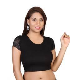 Black cotton plain stitched blouse