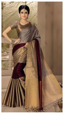 06507b0dda28a wedding designer Maroon with grey plain silk saree with blouse ...