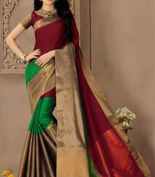Buy Maroon plain silk saree with blouse kota-silk-saree online
