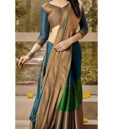 Buy Blue plain silk saree with blouse kota-silk-saree online