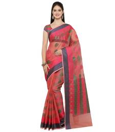 Buy Pink woven cotton saree with blouse handloom-saree online