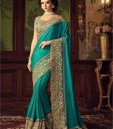 Buy Teal green embroidered bhagalpuri saree  designer-embroidered-saree online