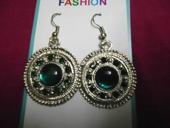 Silver & dark green earrings