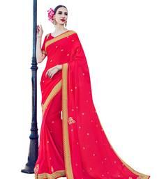 Buy Pink embroidered satin saree with blouse satin-saree online