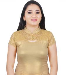 Gold Cotton Lycra Plain stitched blouse