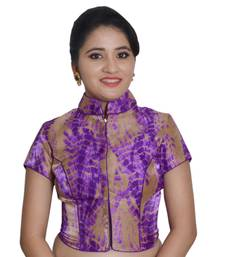 Purple Cotton Silk Printed stitched blouse