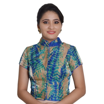 Blue Cotton Silk Printed stitched blouse