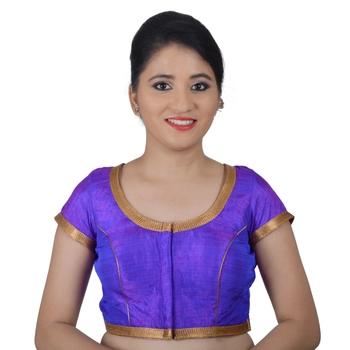 Areum Purple Silk Princess Cut Padded Readymade Saree Blouse Choli
