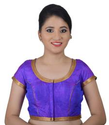 Areum Purple Silk Princess Cut Padded Readymade Saree Blouse Choli