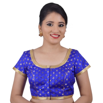 Areum Blue Brocade Jari Butti Polka Dot Padded Readymade Saree Blouse Choli