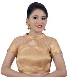 Areum Designer Net Sequence High Neck Gold Brocade Padded Readymade Saree Blouse Choli