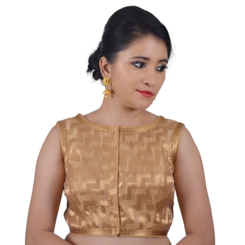 Areum Boat Neck Detachable Sleeves Zig Zag Gold Banarasi Brocade