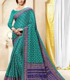 Buy Teal brasso brasso saree with blouse brasso-saree online