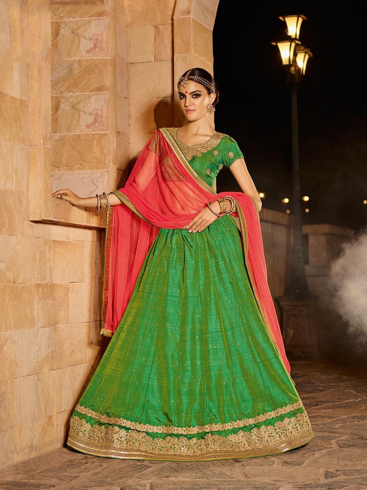 3c70b45bc8 Green embroidered net semi stitched lehenga with dupatta - Melluha Fashion  - 2301816