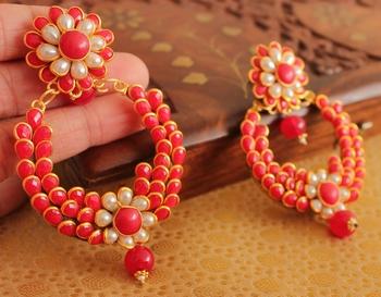 Beautiful Red Big Bali Pachi Earrings Dreamjwell 2301896