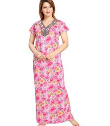 Buy Pink  Cotton Full Length Maxi For Women's maxi-dress online