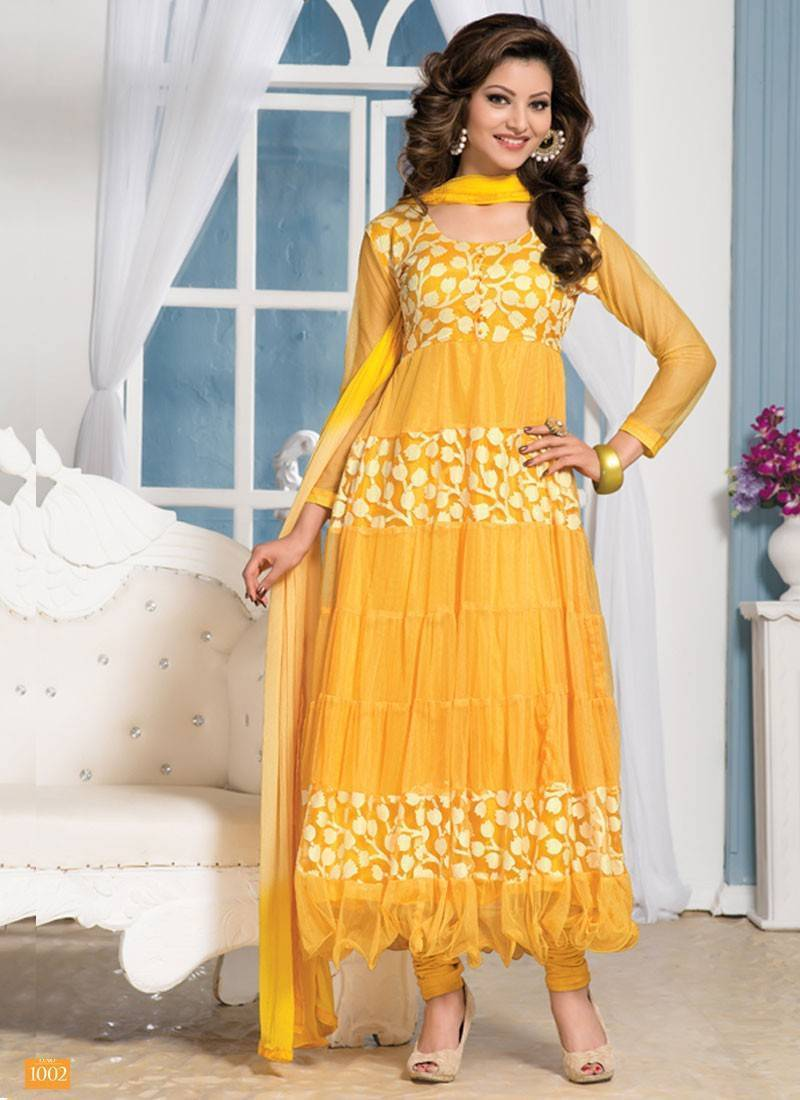 Buy Latest Net And Brasso Yellow Designer Anarkali Suits