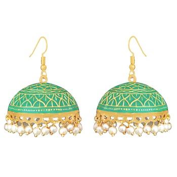 Meenakari tokri jhumki pearl earring set