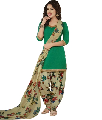 47c55f6d0e green printed synthetic unstitched salwar with dupatta - Rashmi fashion -  2303472