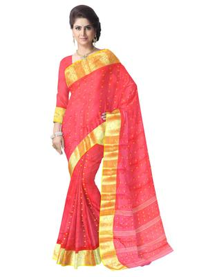 Giftpiper Bengali Tant Saree With Booti Motifs   Red & Yellow