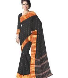 Buy GiftPiper Bengali Tant Saree with Booti Motifs- Black bengali-saree online