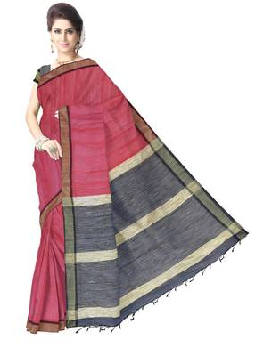 GiftPiper Bengal Handloom Cotton Silk Saree with Ghicha Pallu- Red & Black