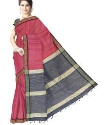 Buy GiftPiper Bengal Handloom Cotton Silk Saree with Ghicha Pallu- Red & Black bengali-saree online