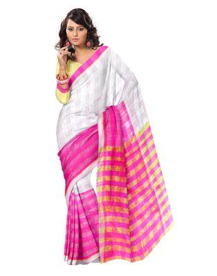 GiftPiper Bengali Tant Saree- Pink & White