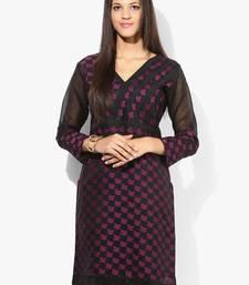 Buy Purple woven net stitched kurtas-and-kurtis kurtas-and-kurti online