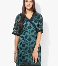 Green woven net stitched kurtis
