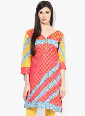 Orange woven chanderi stitched kurtis