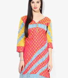 Orange woven chanderi stitched kurtis