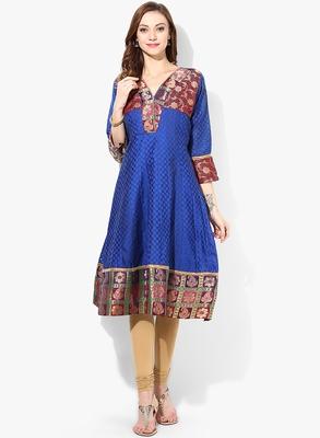 Blue woven chanderi stitched kurtis