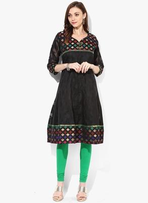 Black woven net stitched kurtis