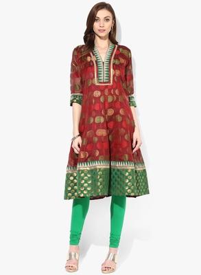 Maroon woven net stitched kurti