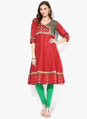 Red woven net stitched kurtis