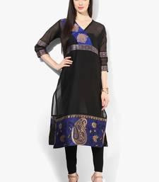 Black woven net stitched kurti