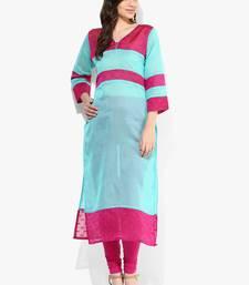 Sky blue woven chanderi stitched kurtis