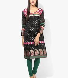 Black woven chanderi stitched kurti