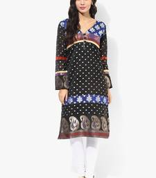 Black woven chanderi stitched kurtis