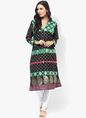 Black woven chanderi stitched kurtas-and-kurtis