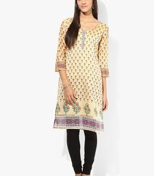 Cream woven chanderi stitched kurtis
