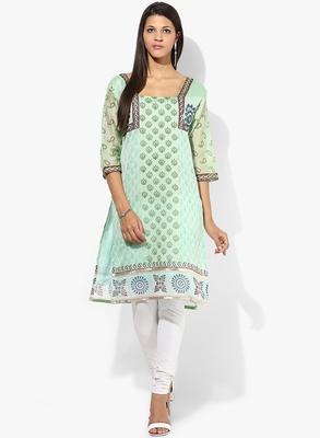 Green woven chanderi stitched kurti