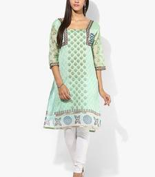 Green woven chanderi stitched kurti