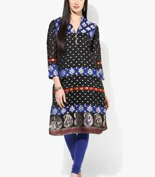 Black woven chanderi stitched kurtis