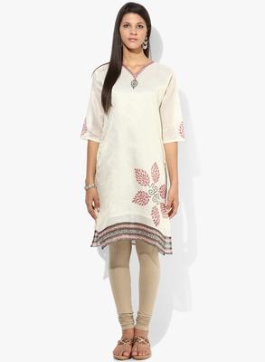 White woven net stitched kurti