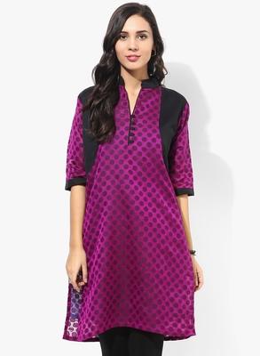 Purple woven chanderi stitched kurtis